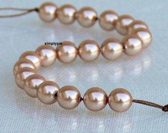 Rose Gold Swarovski Pearl Crystal Beads 6mm Round 20