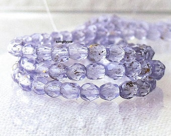 Gold Dusted Alexandrite, Czech Beads 4mm Fire Polished 50 Faceted Round Glass