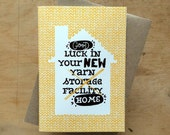 Good luck in your new home - greeting card for knitter crocheter