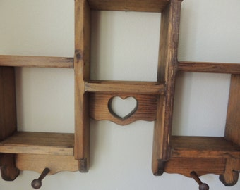 Tri Level Stained Pine Wood Heart Shelving Unit. Country Pine Wall Storage Shelf. Heart and Pegs Wooden Wall Hanging