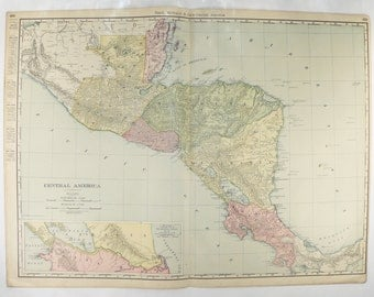 1903 Central America Map, Large Map Central America, Honduras Map, Guatemala, Belize Map, Costa Rica, Latin America Gift for Couple
