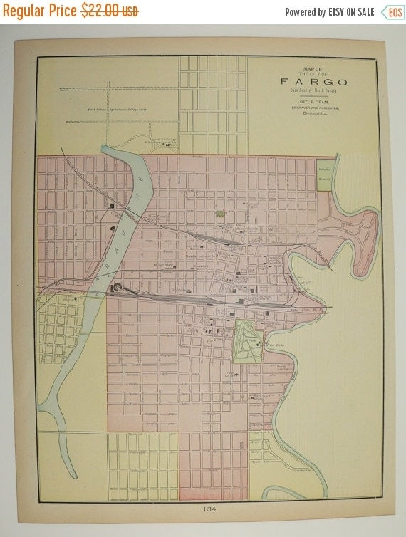 Vintage Map Of Fargo North Dakota And St Paul By
