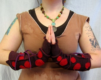 Wine Red Dotted Arm Warmers with Thumbholes