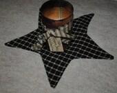 Star Shape Candle Mat in Black and Cream Plaid Homespun Fabric