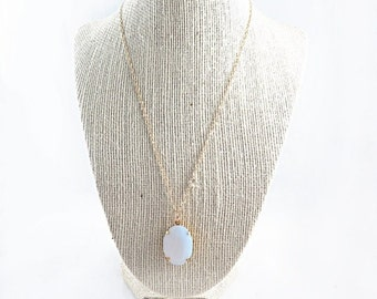 White Opal Necklace, Opal Pendant, Gold Filled Necklace, October Birthstone, Minimal Jewelry