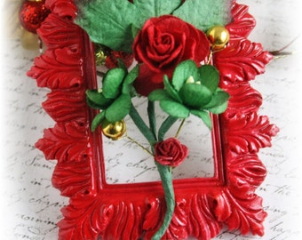Petite Rose and Cherry Blossom Christmas Handmade Vine Embellishment for Scrapbooking, Cardmaking, Mini Album, Altered Art, Red and Green