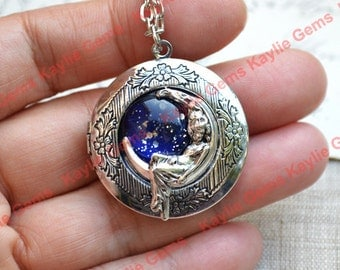 Moon Locket Pendant Necklace Crescent Moony Goddess Jewelry Girl Lady on Moon Antique Silver
