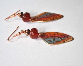 Wedge Earrings, Copper Flower Earrings, Lampwork Earrings, Fire Painted Earrings, Long Dangle Earrings