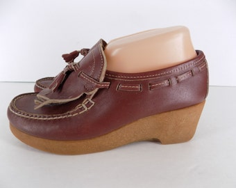 Vintage 1970's Dexter Dex Wedge Loafers with Tassel Size 7.5 M