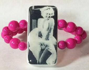 Domino Beaded Bracelet Jewelry Game Piece Marilyn Monroe