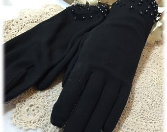 Vintage Ladies Beaded Black Gauntlet Gloves, Size 6 1/2 - 7 Cool Weather Hand Protection