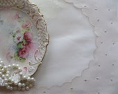 Four Placemats, Organza and Linen, Cream, Embroidered, Cottage Charm, French Country, Vintage Wedding, Beige, by mailordervintage on etsy