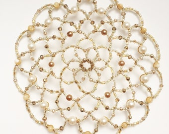 Soft Gold and Pearl Beaded Kippah