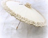 Parasol, Ivory, Tan, Sun Umbrella, Bridal, Wedding Parasol, Bridesmaids, Photo Prop, Umbrella, Linen Parasol, Elegant, Vintage Wedding