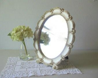 Vintage Syroco oval dresser mirror Ivory wood oval mirror