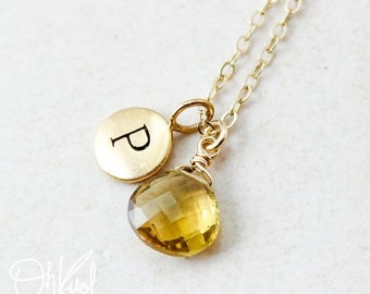 25% OFF Gold Yellow Citrine Necklace - November Birthstone - Initial Necklace