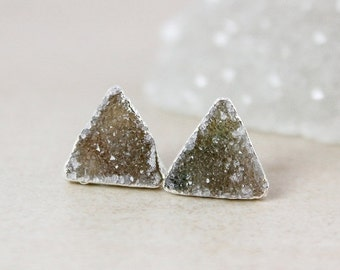 LABOR DAY SALE Moss Green Triangular Druzy Studs - Choose Your Druzy - 925 Sterling Silver