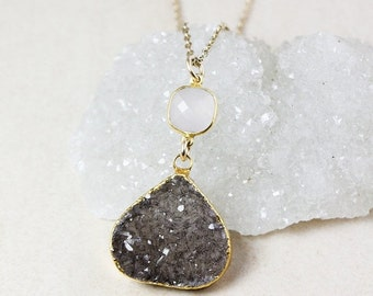 50% OFF Pink Chalcedony and Brown Druzy Necklace – Choose Your Druzy – 14K Gold Filled Chain