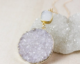 50 OFF SALE Icy Druzy Pendant Necklace – Choose Your Druzy – 14K Gold Filled Chain