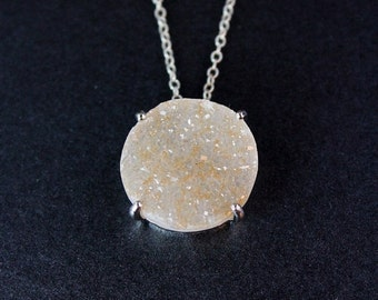 50 OFF SALE Large Statement Druzy Necklace - Circular Stone