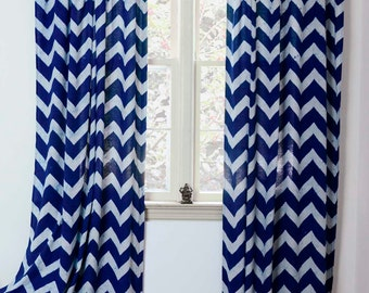 """50% OFF Navy blue Curtains Window Treatment indigo Zig Zag - ONE panel 44""""w x 84""""L /108""""L - decor housewares home and living * On Sale*"""