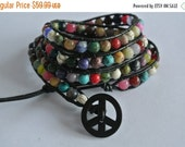 SALE World Peace Gemstone Beaded Leather Wrap Bracelet