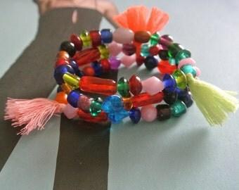 30% OFF SALE Circus Ole Vintage Glass Tassel  Beaded Bracelets