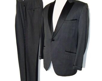 Vintage 50s Tuxedo Suit Rockabilly Charcoal Wool Satin Dinner Jacket & Pants M