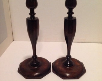 Vintage Turned Wood Candlestick