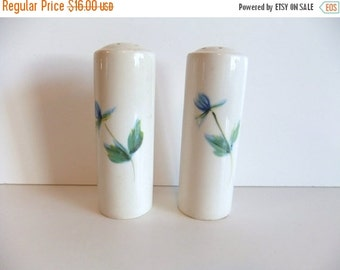 ON SALE Salt and Pepper Shakers Blue Flower