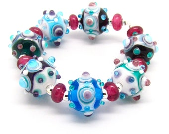 Decorative Lampwork Beads,  Lampwork Beads, Lampwork Bead Set, Purple Beads, Blue Beads, UK, SRA, FHFteam