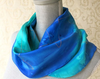 Silk Scarf Hand Dyed in Shades of Blue with Gold Accent