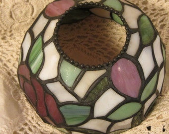 Vintage Stained Rose Candle Shade, Decorative Lamp Shade, Sconce Shade, Rose Shade, Stain Glass Lamp Shade, Rose Stain Glass Shade