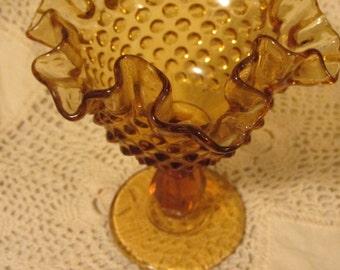 Vintage Amber Glass Hobnail Pedestal Vase, Candy Dish, Serving Dish, Decorative Bowl