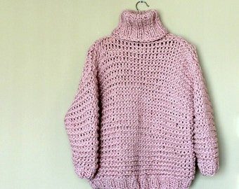Turtleneck Sweater / Chunky Turtleneck Sweater / Very Thick Knit Sweater / Pink / Chunky Knit Sweater / Volume Sweater / Oversized / Bulky