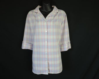 purple plaid oversize blouse 70s pink windowpane button down plus size 1X new old stock