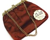 Delill Creation Evening Bag Vintage 1950s Brown Satin Bag with Original Tag