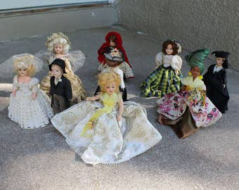 Vintage Dolls Collection Nine 1950s Bride Groom Cinderella Tooth Fairy Haiti Gibson Girl Red Riding Hood Collectors