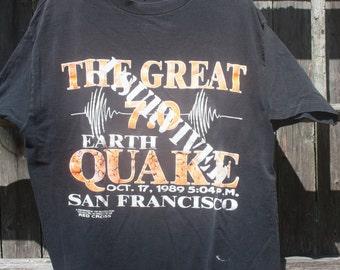Quake Survivor Tee XL Oct 17 1989 Memorabilia