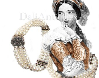 Free Shipping Art Deco Wedding Sterling Silve Genuine Pearls Marcasites Vintage Bracelet