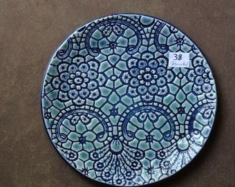 Elegant, textured, ceramic, porcelain plate