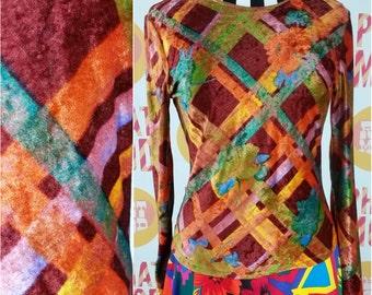 Cool Maroon Velvet Big Stripe Tight Soft Velvet Shirt - Boho Grunge Girl!