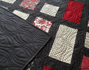 Throw Quilt, Red is the New Neutral, HANDMADE Patchwork Quilt Red, Gray, Charcoal, cream 56x69""
