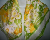 S.KENT AVON scarf Acetate  spring flowers Tulips made in ITALY on sale