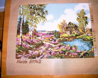 Antique Handmade cross stitch embroidered  panel Made in Germany Shabby  Cottage Chic on Sale