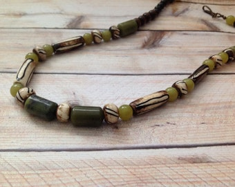 African Beads Style Necklace, Green Nephrite Jade Necklace, Green Necklace