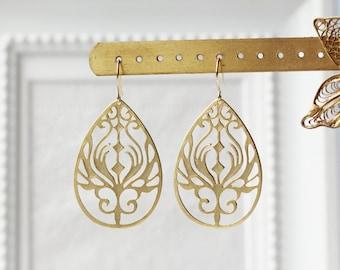 Matte Gold Filigree Earrings Titanium Gold Peacock Feathers Modern Boho