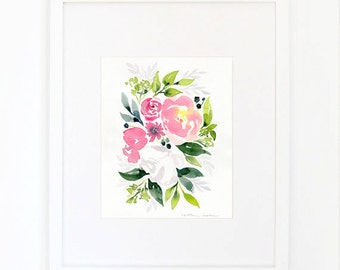 White Rose Bouquet with Peonies Watercolor Print