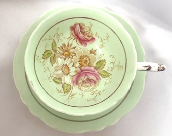 Vintage Paragon England mint green floral bone china tea cup and saucer