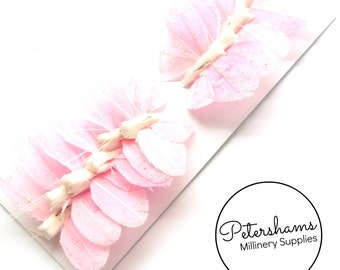 7cm Glitter Feather Butterflies on Wire, Box of 12 - Pink